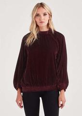 7 For All Mankind Velvet Pullover Sweater in Dark Bordeaux