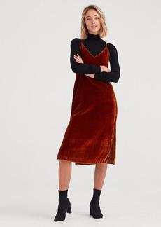 7 For All Mankind Velvet Slip Dress in Golden