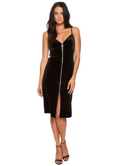 7 For All Mankind Velvet Slip Dress w/ Zip in Black