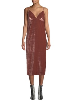 7 For All Mankind Velvet Slip Empire Midi Dress