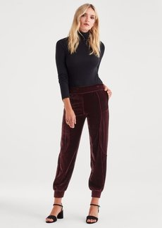 7 For All Mankind Velvet Track Pant in Dark Bordeaux