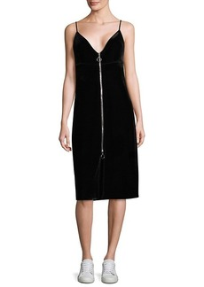 7 For All Mankind Velvet Zipper Sheath Dress