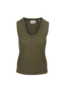 7 For All Mankind Vintage Crop Tank Sweater in Military