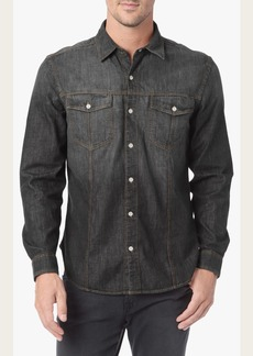 7 For All Mankind Washed Down Trucker Shirt in Grey Black
