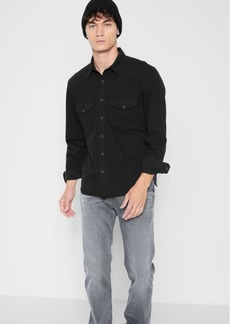 7 For All Mankind Western Denim Shirt in Distressed Black