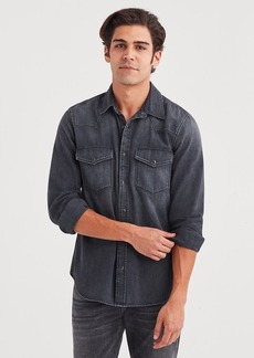 7 For All Mankind Western Denim Shirt in Greystone Black