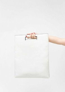 7 For All Mankind White Leather Foldover Tote