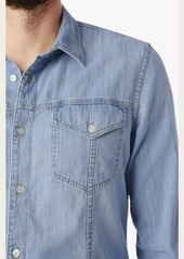 7 For All Mankind Worn In Denim Trucker Shirt in Washed Out Indigo
