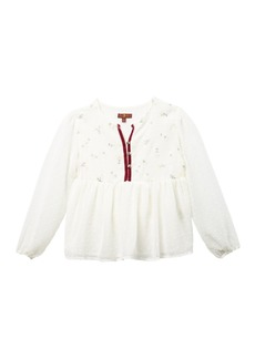 7 For All Mankind Woven Long Sleeve Top (Big Girls)