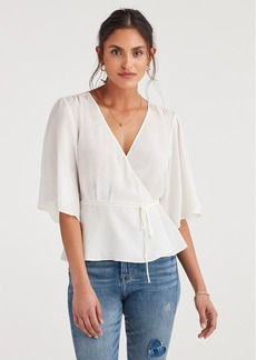 7 For All Mankind Wrap Front Short Sleeve Top in Soft White
