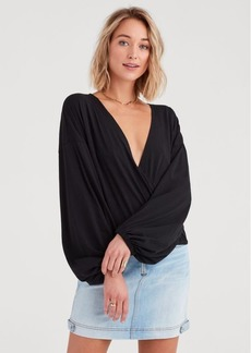 7 For All Mankind Wrap Front Top in Jet Black