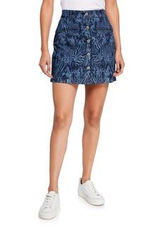 7 For All Mankind Zebra-Print Button-Front Short Skirt