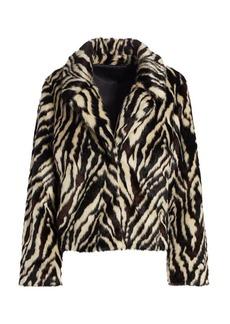 7 For All Mankind Zebra Print Faux Fur Jacket