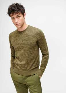 7 For All Mankind Zigzag Print Sweater in Olive