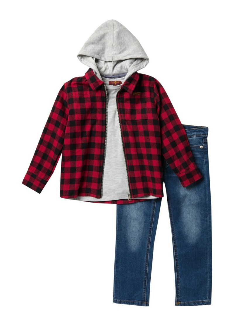 7 For All Mankind Zip Flannel & Jeans 3-Piece Set (Little Boys)
