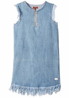 7 For All Mankind Zip Front Flutter Sleeve Denim Dress (Big Kids)