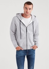 7 For All Mankind Zip Through Hoodie in Heather Grey