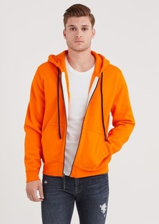 7 For All Mankind Zip Through Hoodie In Orange