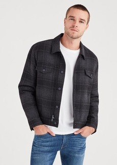 7 For All Mankind Zip Through Plaid Trucker in Charcoal Plaid
