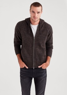 7 For All Mankind Zip Through Sweater Hoodie in Black Brown