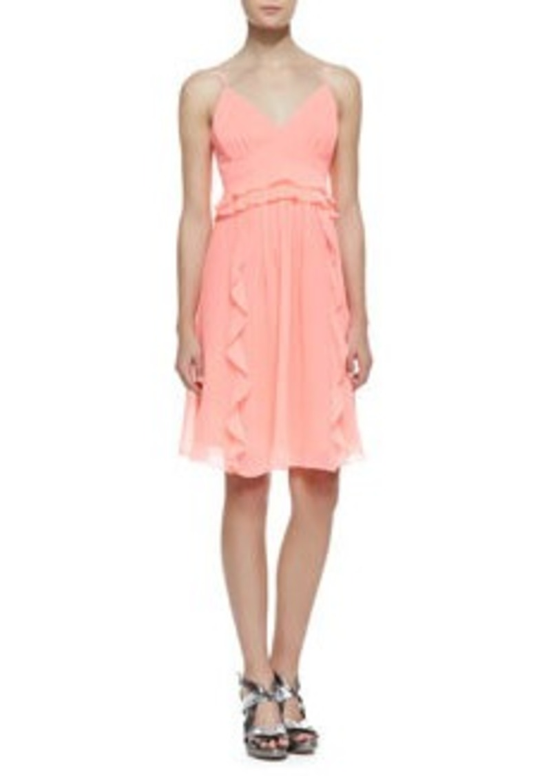 Nanette Lepore Merengue Silk Spaghetti Strap Dress, Punch Pink   Merengue Silk Spaghetti Strap Dress, Punch Pink