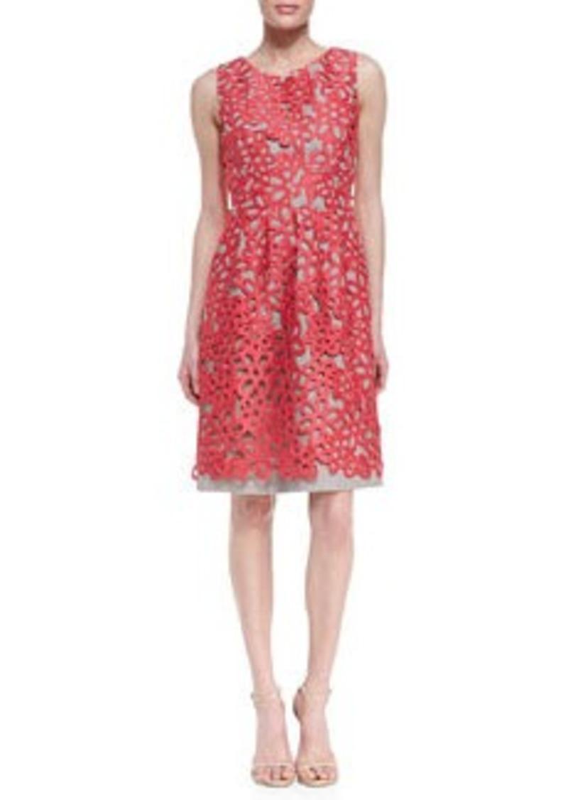 Lela Rose Floral Guipure Lace Dress, Peony Pink
