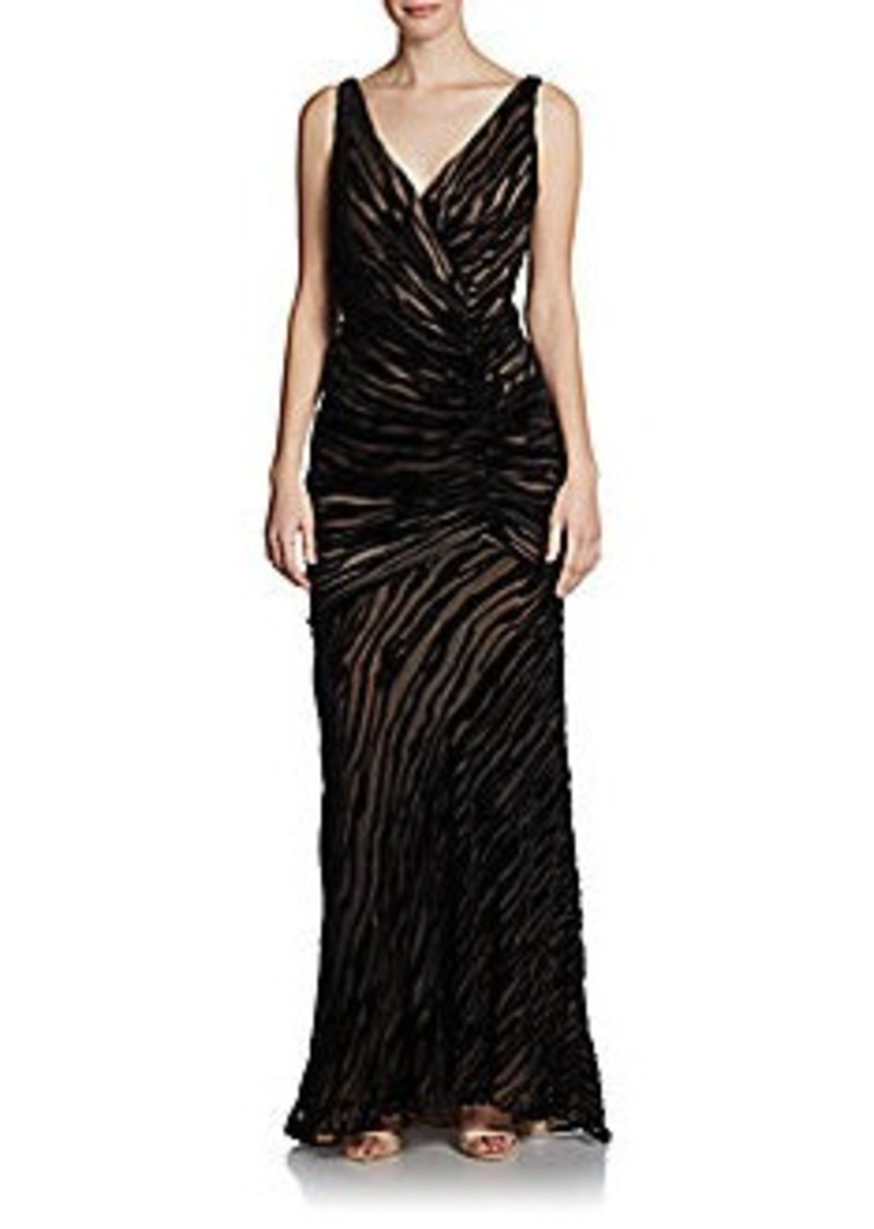 Carmen Marc Valvo Ruched Burnout Velvet Dress