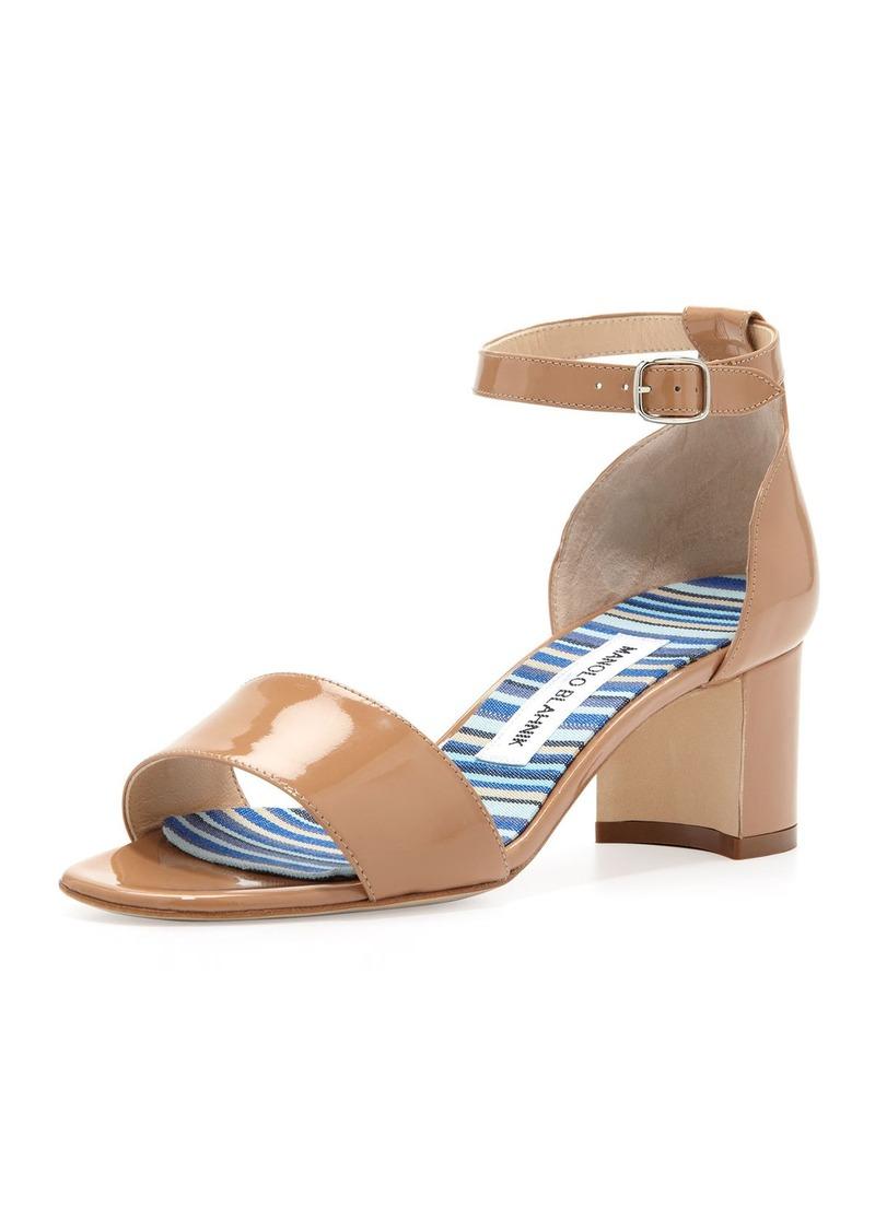 Manolo Blahnik Lauratomod Block-Heel Ankle-Strap Sandal, Beige