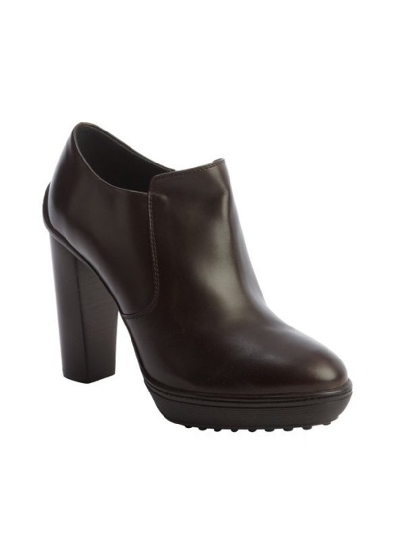 Tod's dark brown leather side zip wooden heel booties