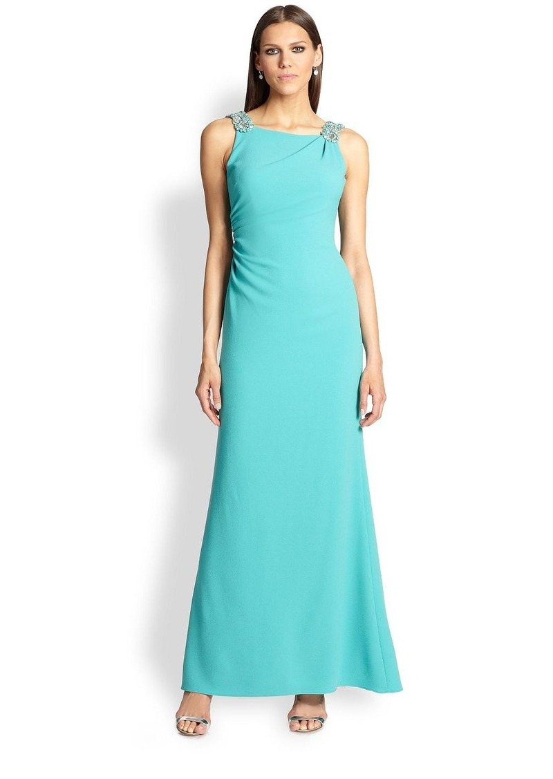 David Meister Embellished Crepe Gown