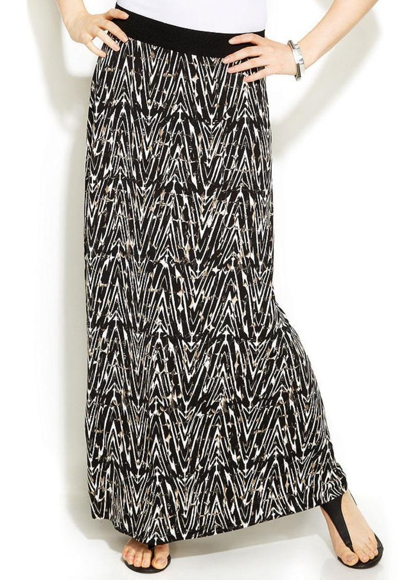 Alfani Marble-Print Maxi Skirt