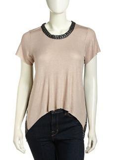 T-Bags T Bags High-Low Mesh-Back Shimmer Top, Mocha Foil