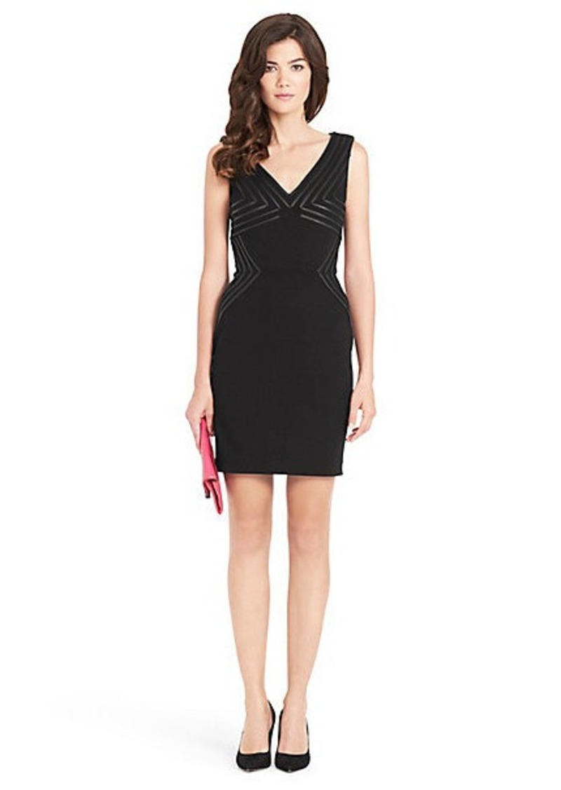 Diane Von Furstenberg Glenda Leather Detail Knit Dress