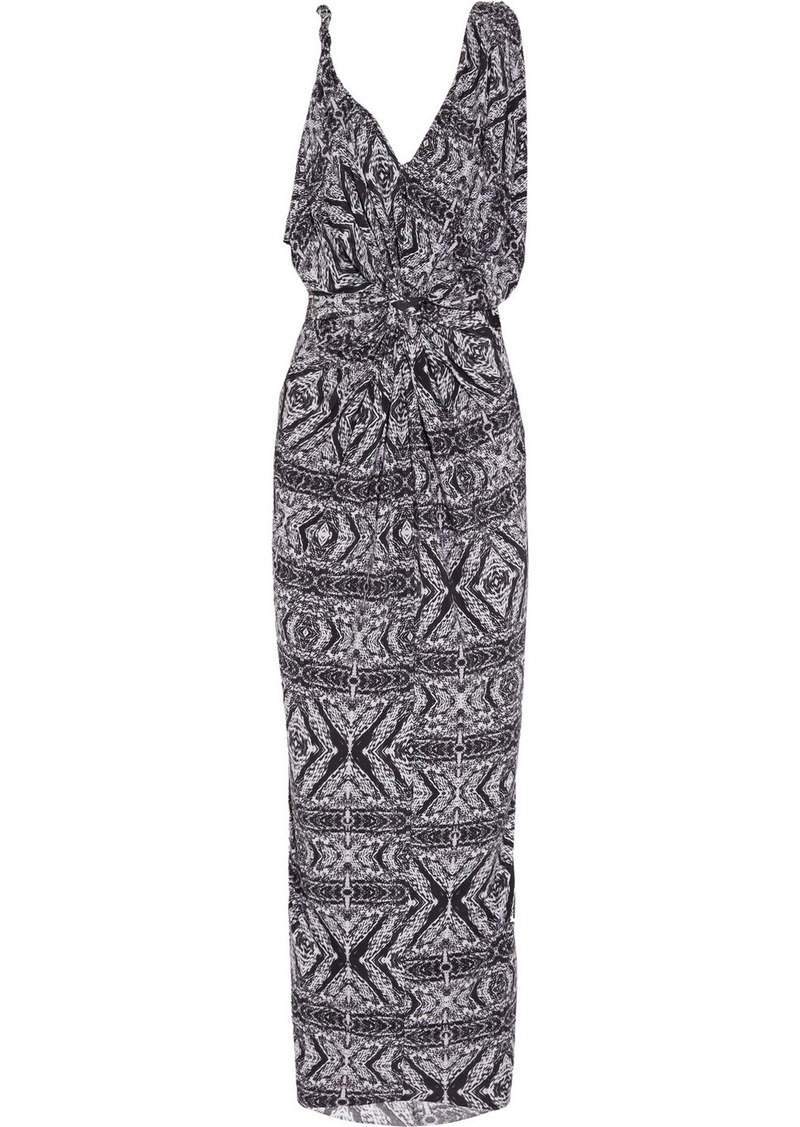 T-Bags Printed stretch-satin jersey maxi dress