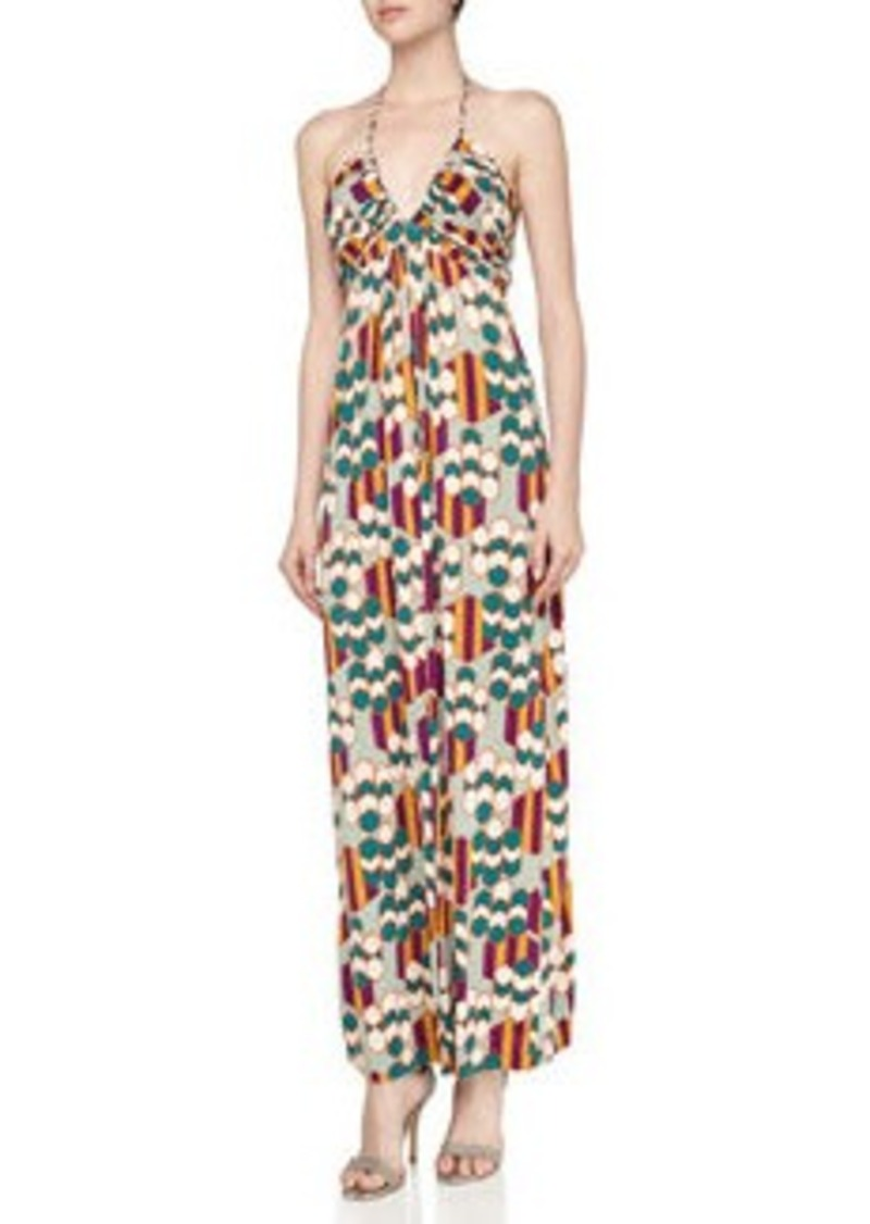 T-Bags T Bags Geometric Print Braided Halter Maxi Dress