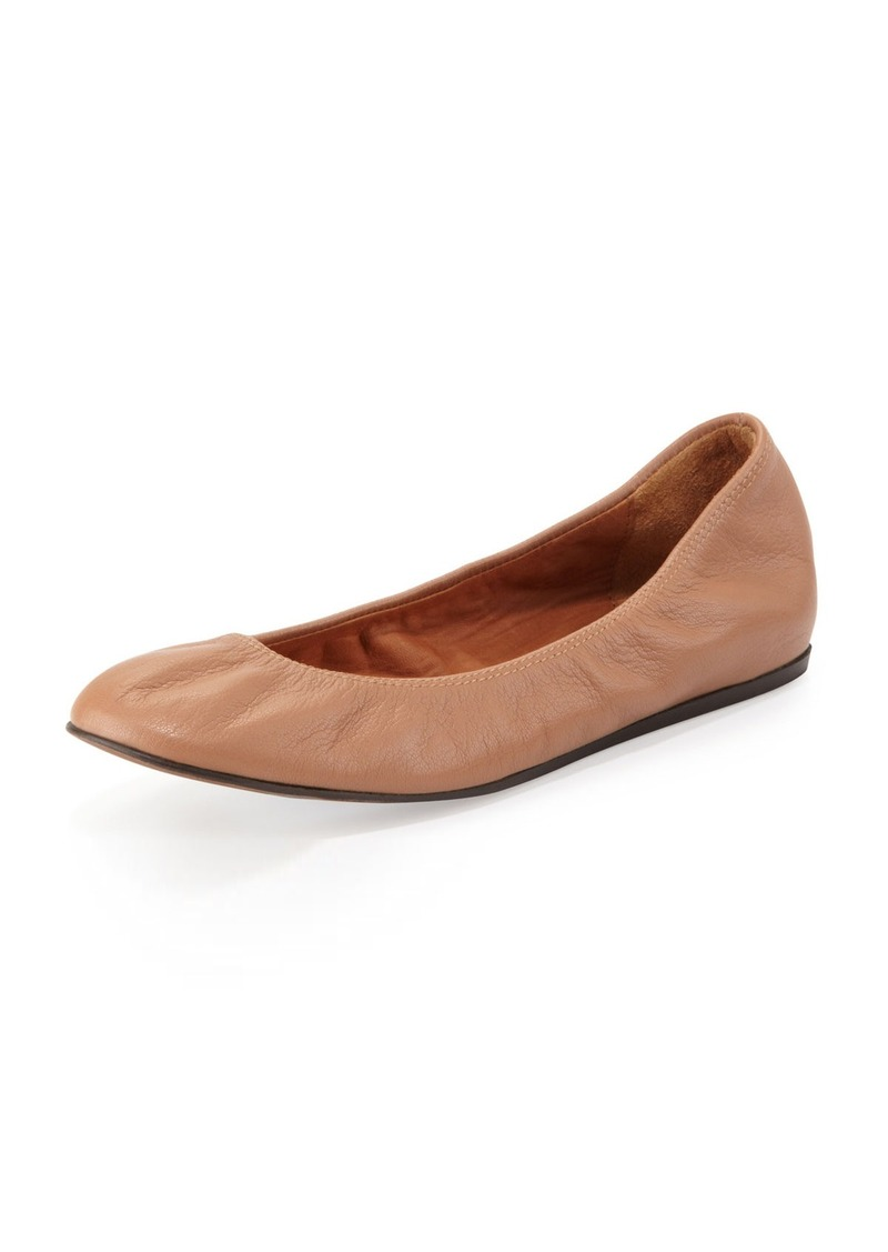 Lanvin Scrunched Leather Ballerina Flat, Mastic