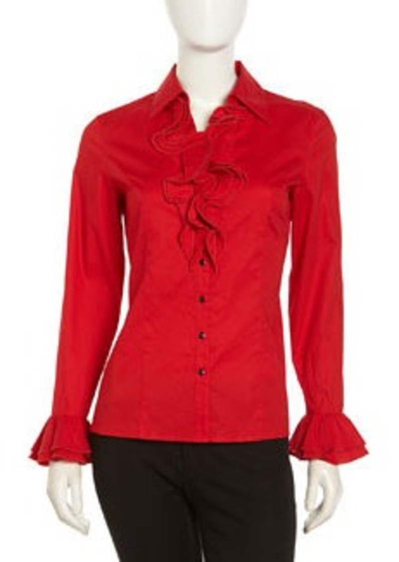 Go Silk Stretch Knit Ruffle Blouse, Crimson