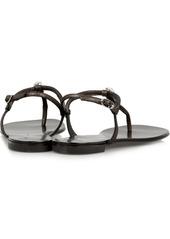 Giuseppe Zanotti Crystal-embellished metallic suede sandals