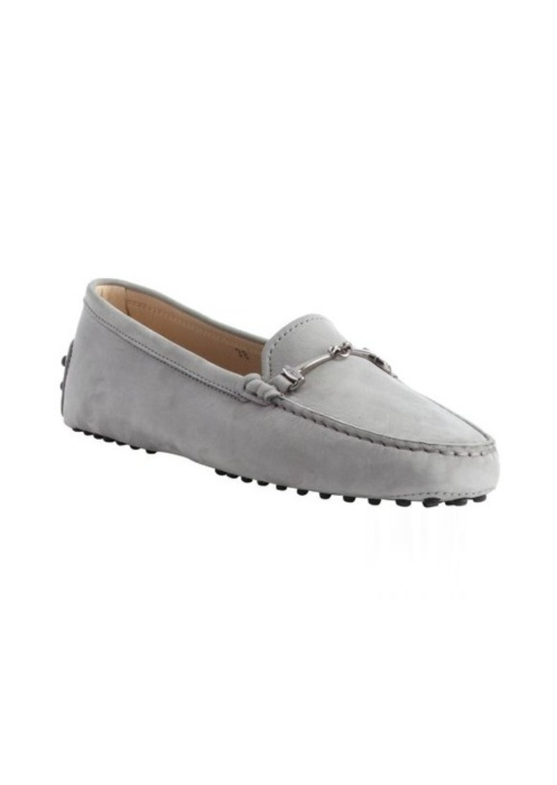 Tod's pale blue suede moc toe horsebit loafers