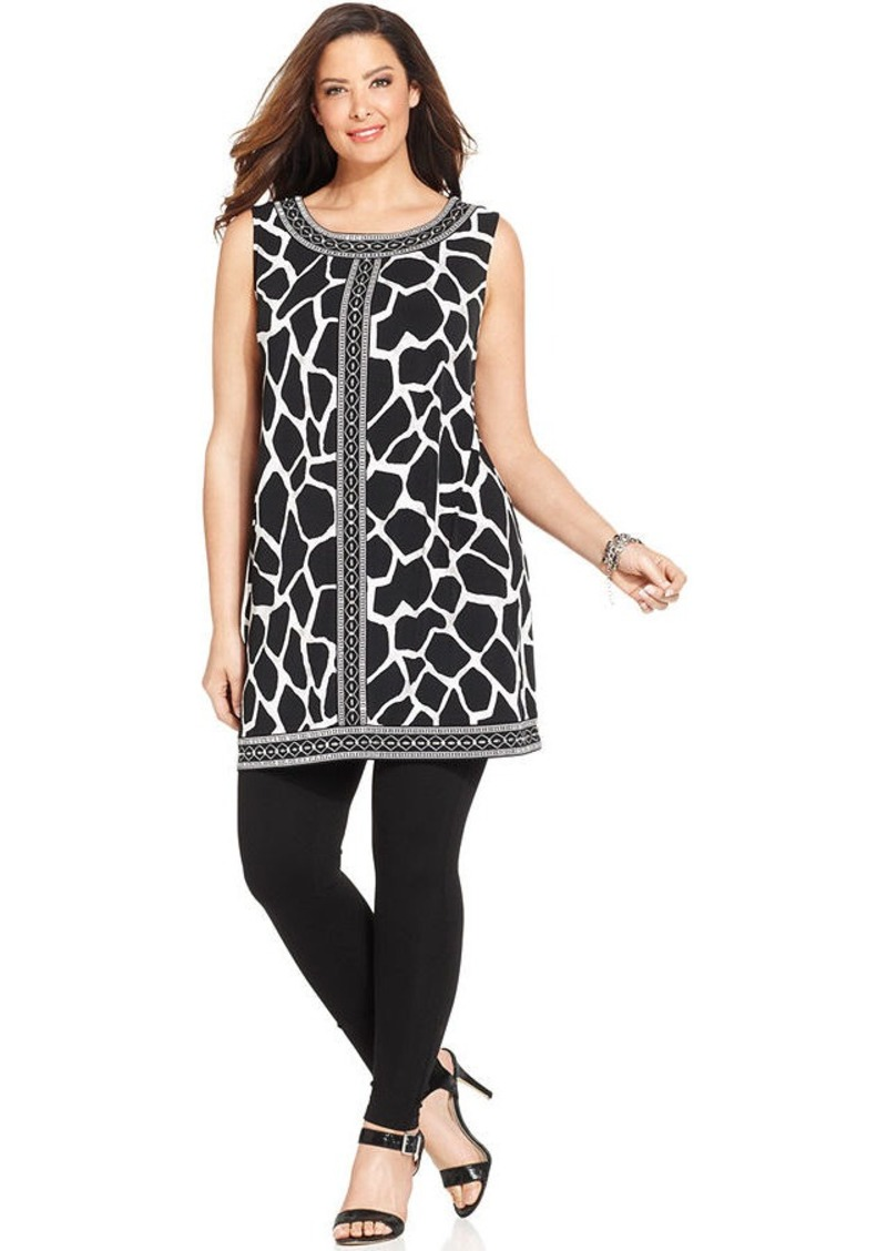 Alfani Plus Size Printed Embellished Sleeveless Tunic