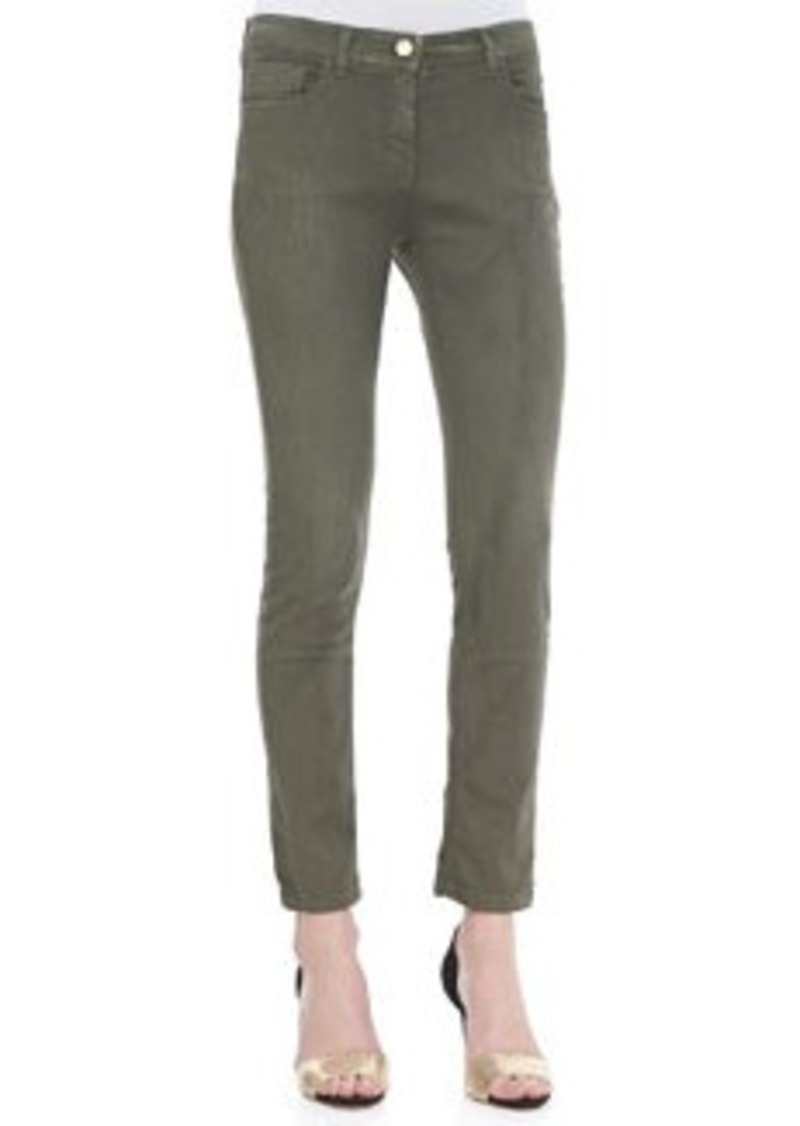 Etro Cropped 5-Pocket Skinny Jeans, Olive   Cropped 5-Pocket Skinny Jeans, Olive