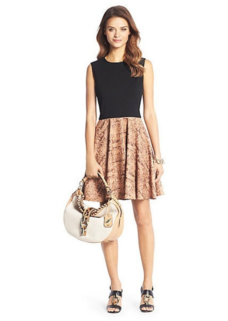 Diane Von Furstenberg Jeannie Cork Leather Fit and Flare Dress