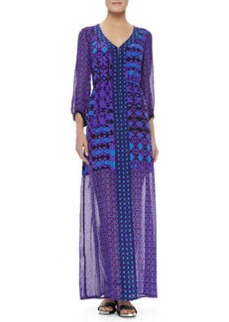 Nanette Lepore Sheer-Sleeve/Skirt Dress, Violet Multicolor