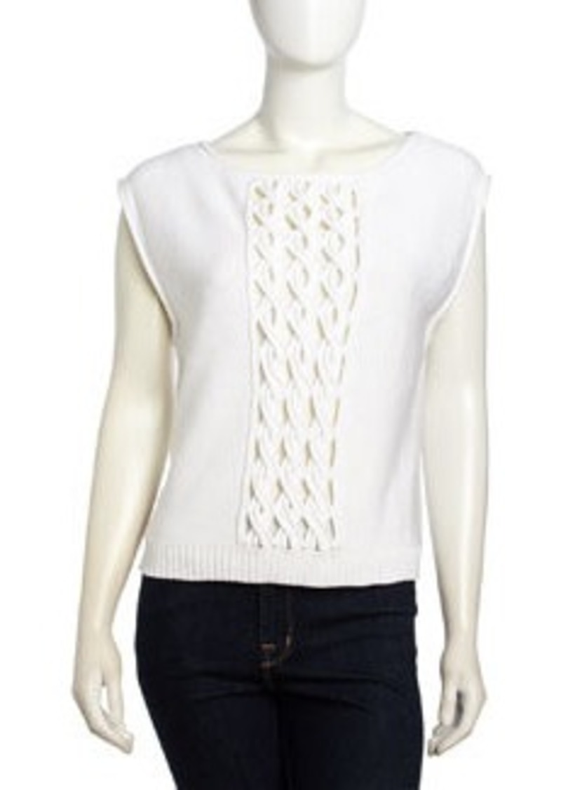 L.A.M.B. Sleeveless Cable Knit Panel Sweater, White