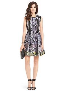 Diane Von Furstenberg Ida Leather Detail Fit and Flare Dress