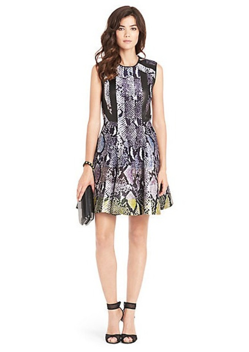 Diane Von Furstenberg Ida Leather Detail Fit and Flare Dress