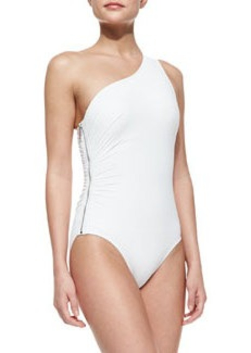 MICHAEL Michael Kors One-Shoulder Zip Maillot   One-Shoulder Zip Maillot