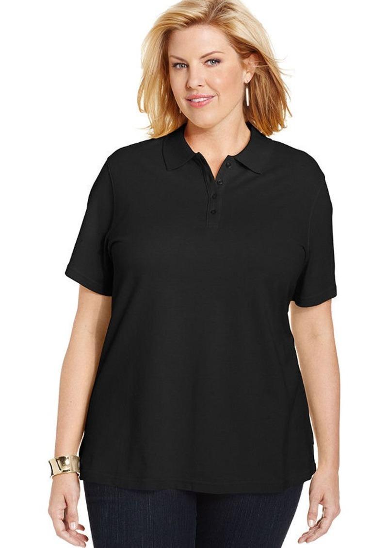 Karen scott karen scott plus size short sleeve polo shirt for Plus size golf polo shirts