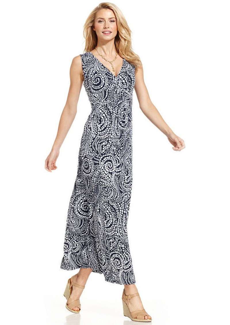 Charter Club Petite Sleeveless Paisley-Print Maxi Dress