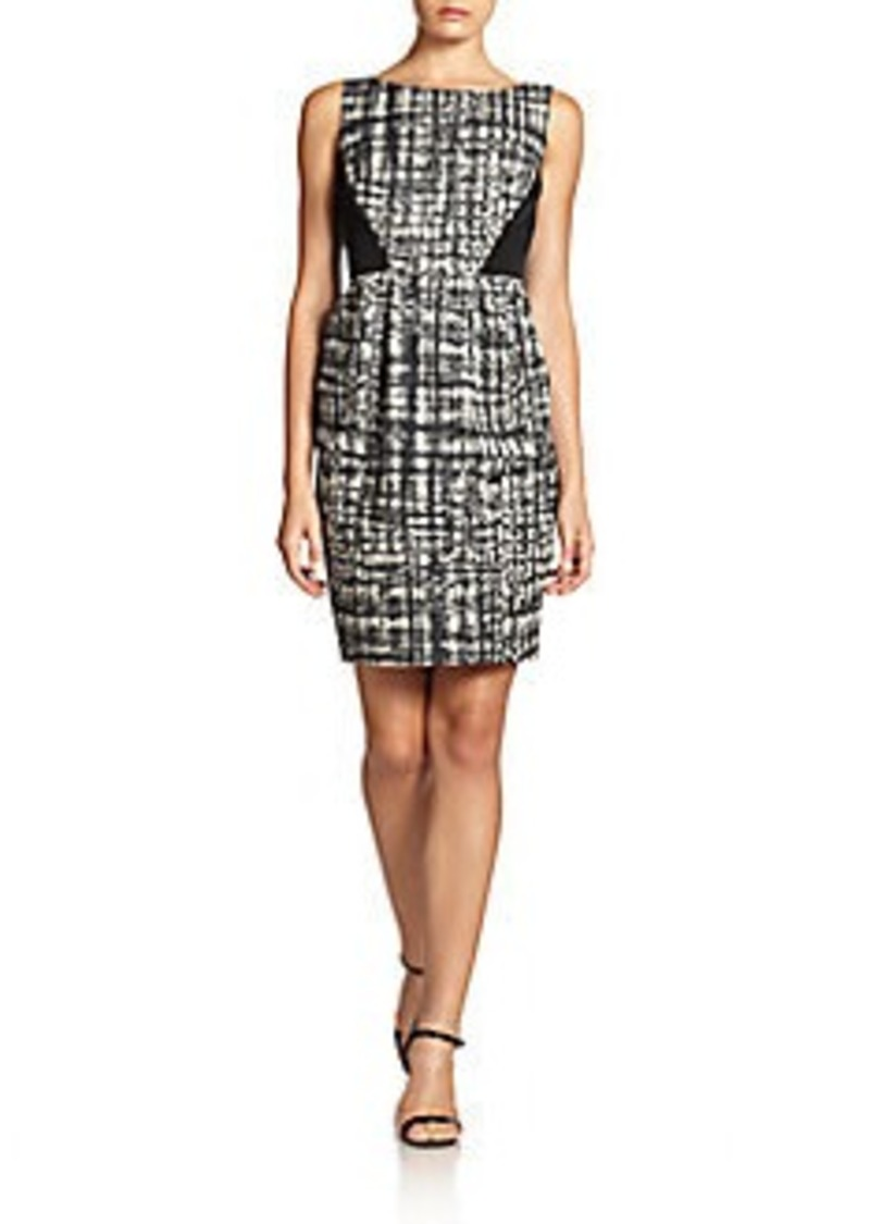 Carmen Marc Valvo Abstract-Plaid Sheath Dress